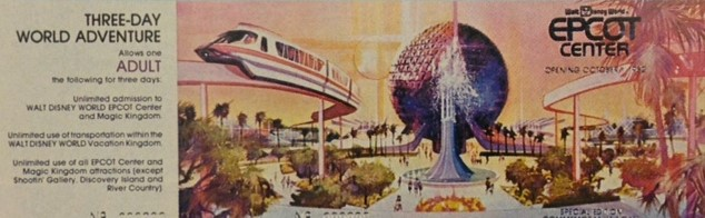 Epcot Center Opening Day Commemorative Ticket