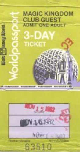 1982 3 day world passport Walt Disney World