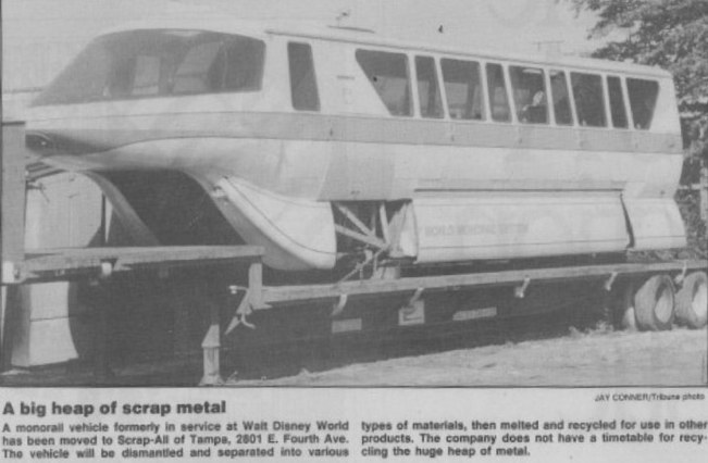 Scrapped Walt Disney World Monorail in junkyard