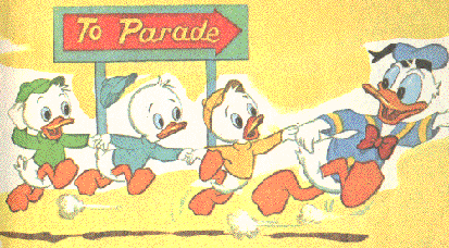 Donald Duck and nephews parade