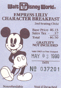 Empress Lilly character breakfast ticket