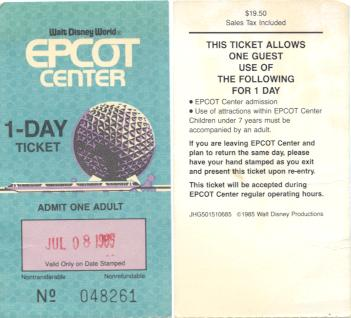 1985 Epcot ticket