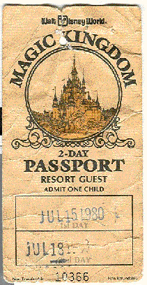 1980 Walt Disney World 2 day passport