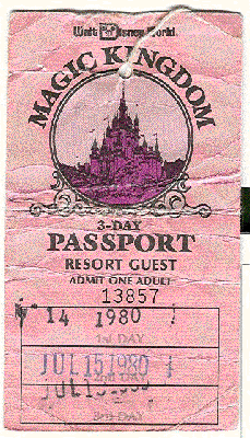1980 Walt Disney World 3 Day Passport