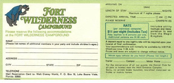 Fort Wilderness 1972 rates