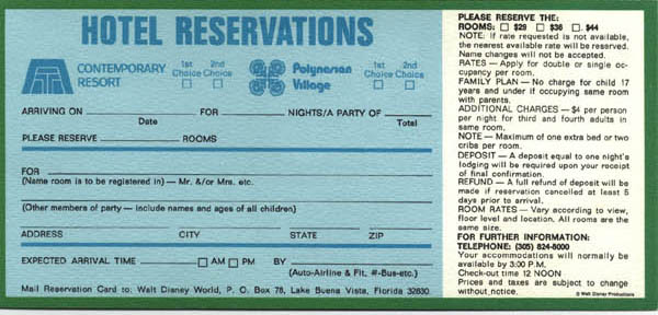 1972 Polynesian Village Resort room rates