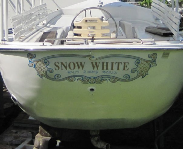 Snow White Swan Boat close up